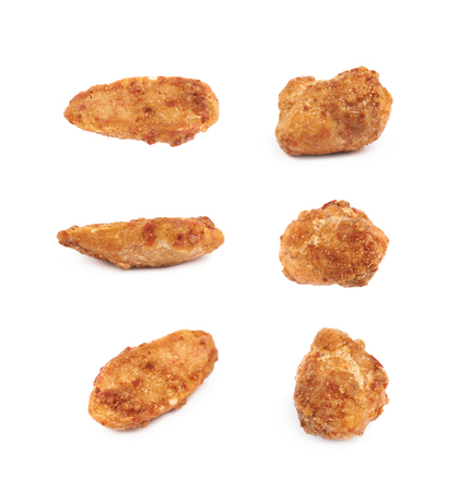 processed grains: Spice and sugar coated peanut isolated over the white background, set of six different foreshortenings