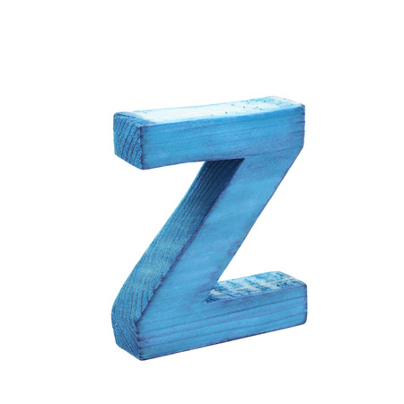 Single sawn wooden letter Z symbol coated with paint isolated over the white background Stock Photo