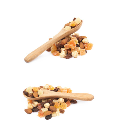 Nuts and dried fruits mix isolated