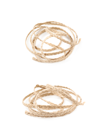 Pile of a linen rope string isolated