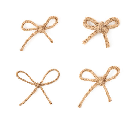 Linen rope bow knot isolated