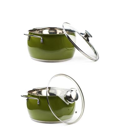utensilios de cocina: Acero pote stock verde aislado Foto de archivo