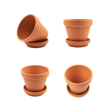 Empty ceramic flower pot isolated
