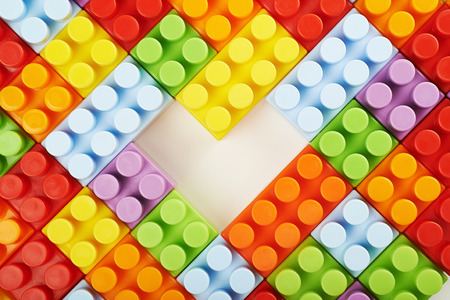 Surface covered with toy bricks