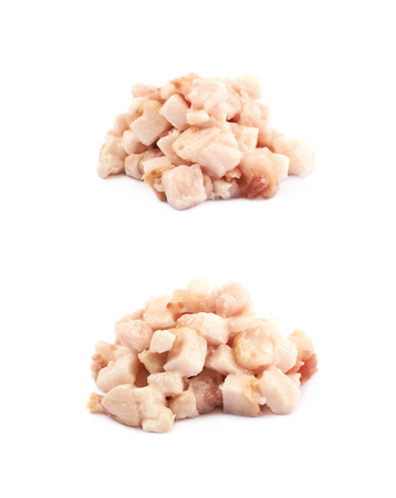 pancetta cubetti: Pile of bacon fat cubes isolated