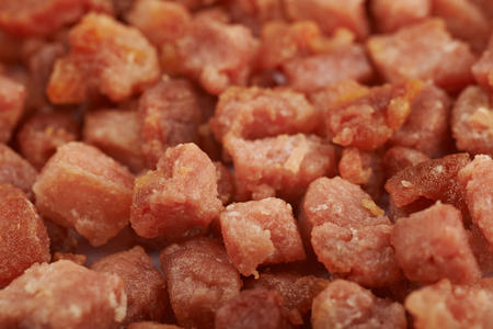 pancetta cubetti: Surface covered with bacon bits