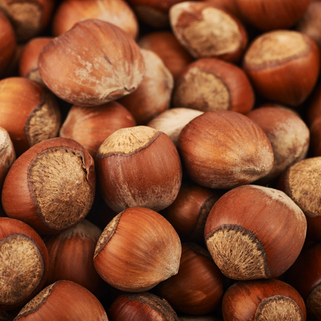 Close-up crop of a surface coated with the hazelnuts as a food backdrop composition Stock Photo