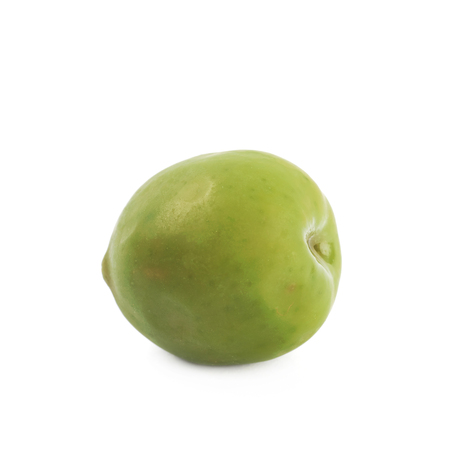 cooking oil: Single green olive isolated