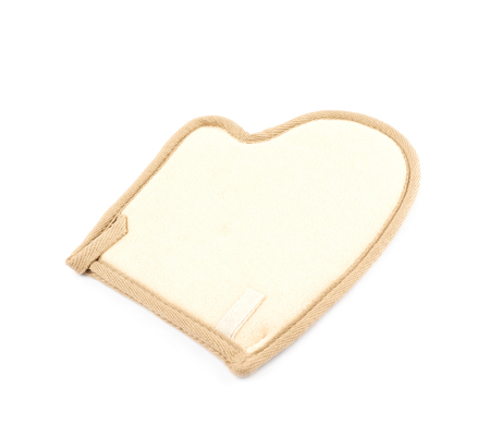 Hand shaped loofa sponge isolated