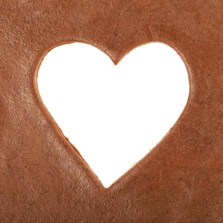 cutter: Heart shape cut in a cookie dough