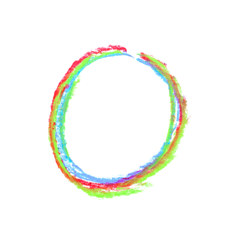 Single hand drawn with the colorful chalk O letter isolated over the white background