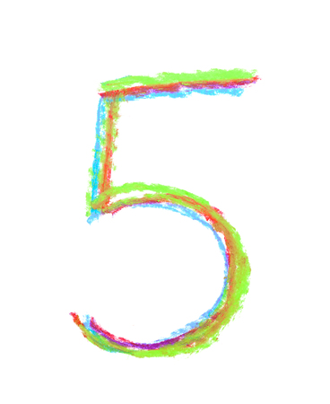 white chalks: Hand drawn with the colorful chalks number five symbol isolated over the white background Stock Photo