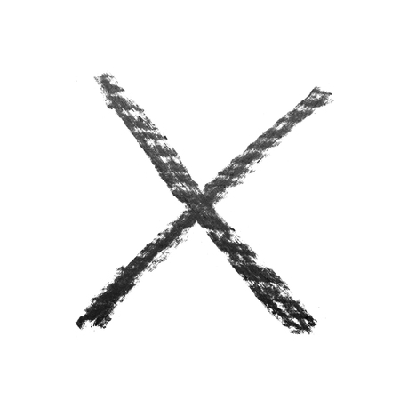 x marks the spot: Hand drawn X mark isolated Stock Photo