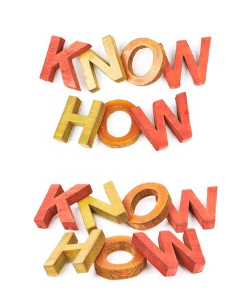 expertise: Words Know How made of colored with paint wooden letters, composition isolated over the white background, set of two different foreshortenings