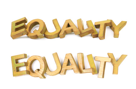 Word Equality made of colored with paint wooden letters, composition isolated over the white background, set of two different foreshortenings Stock Photo