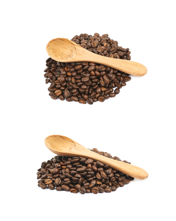 Pile of brown roasted coffee beans isolated over the white background, set of two different foreshortenings Stock Photo