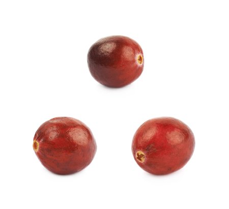 wildberry: Single ripe cranberry isolated over the white background, set of three different foreshortenings Stock Photo