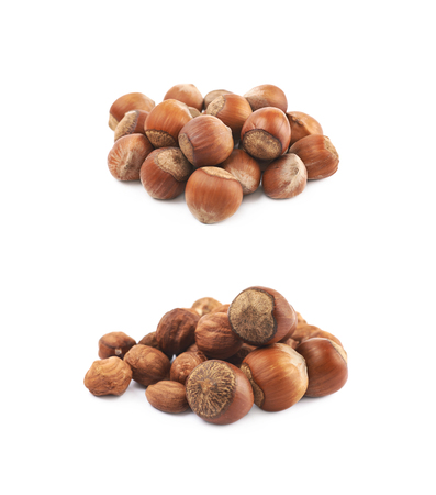 Pile of hazelnuts isolated Stock Photo