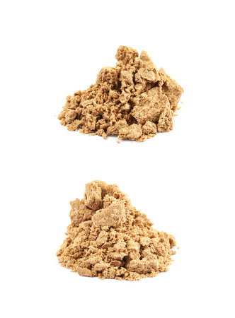 sunflower seeds: Pile of crushed and crumbled turkish halva confection, composition isolated over the white background, set of two different foreshortenings