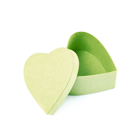 storage box: Paper heart shaped gift box isolated over the white background Stock Photo