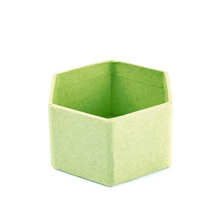 storage box: Paper hexagon shaped gift box isolated over the white background