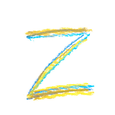 Single hand drawn with the colorful chalk Z letter isolated over the white background