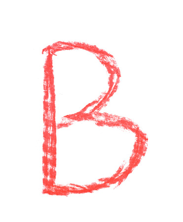 Single hand drawn with the chalk B letter isolated over the white background
