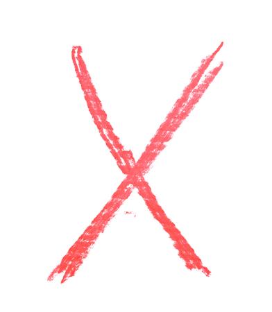 흰색 배경 위에 절연 분필 X 편지로 그려진 단일 손 스톡 콘텐츠 - 79041478