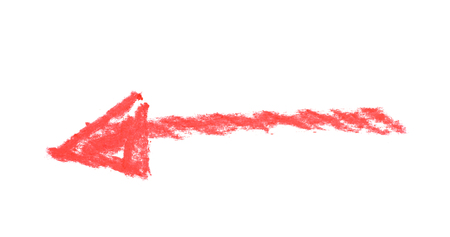 doodled: Hand drawn with the chalks arrow symbol isolated over the white background
