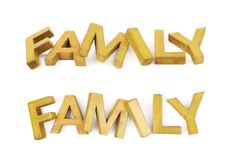 Word Family made of colored with paint wooden letters, composition isolated over the white background, set of two different foreshortenings