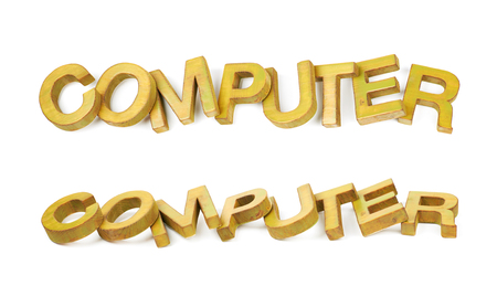 Word Computer made of colored with paint wooden letters, composition isolated over the white background, set of two different foreshortenings