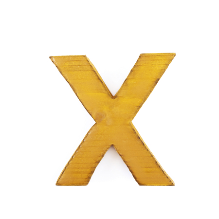 sawn: Single sawn wooden letter X symbol coated with paint isolated over the white background