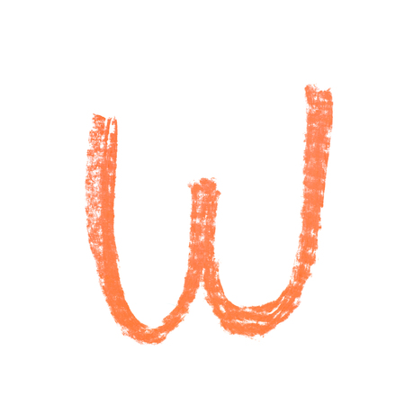 Single hand drawn with the chalk W letter isolated over the white background