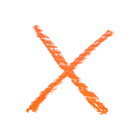 x marks the spot: Hand drawn with the chalks X mark isolated over the white background
