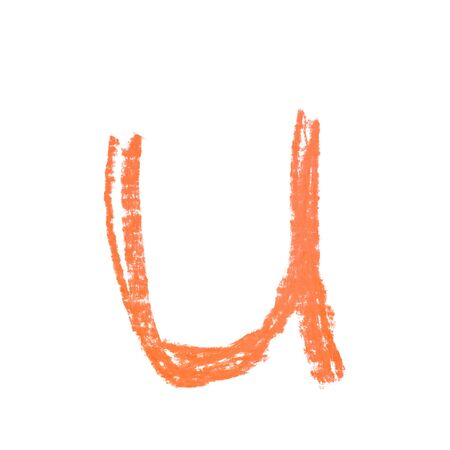 Single hand drawn with the chalk U letter isolated over the white background