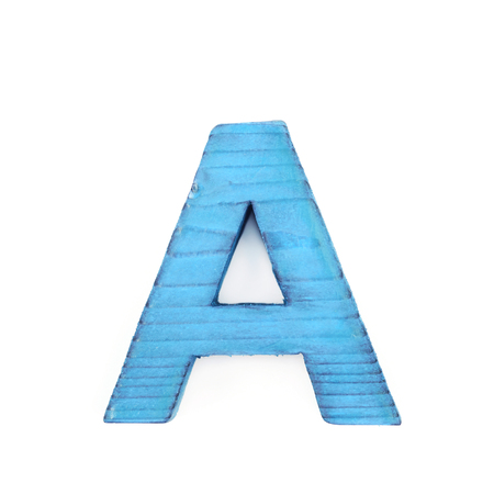 Single sawn wooden letter A symbol coated with paint isolated over the white background Stock Photo