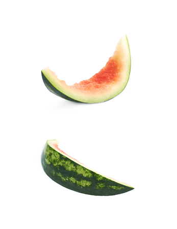 Single watermelon rind isolated over the white background, set of two different foreshortenings