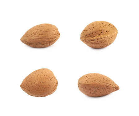 Single almond nut isolated over the white background, set of four different foreshortenings