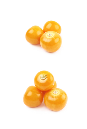 Composition of couple physalis fruit berries isolated over the white background