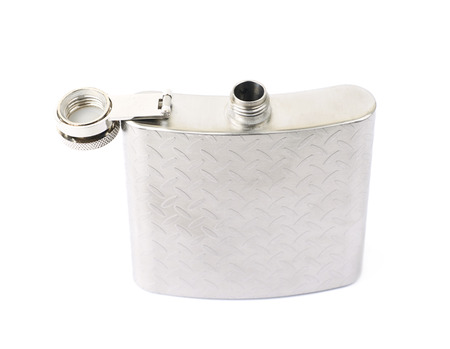 Chrome metal drinking flask isolated over the white background