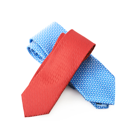Two folded costume ties isolated over the white background