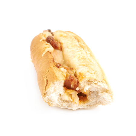 Pizza toppings pastry bun with a bite taken off it, composition isolated over the white background Archivio Fotografico