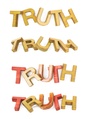 Word Truth made of colored with paint wooden letters, composition isolated over the white background, set of four different foreshortenings Stock Photo