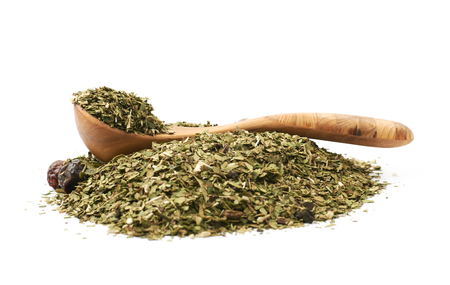 Pile of mate tea leaves isolated Stockfoto