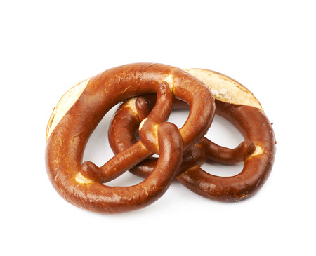 Salted bavarian bagel with cream isolated over the white background