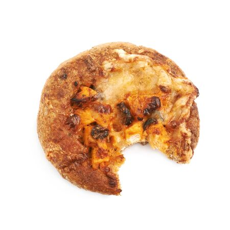 Mini pizza pastry bun with a bite taken off it, composition isolated over the white background