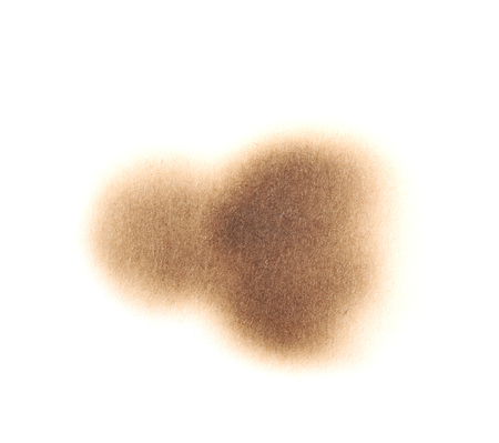 Round paper burn mark stain isolated over the white background