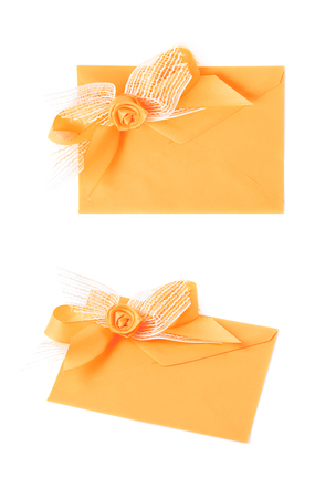 Paper envelope decorated with the bow Stock Photo