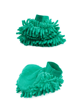 Car washing mitt glove sponge isolated over the white background, set of two different foreshortenings