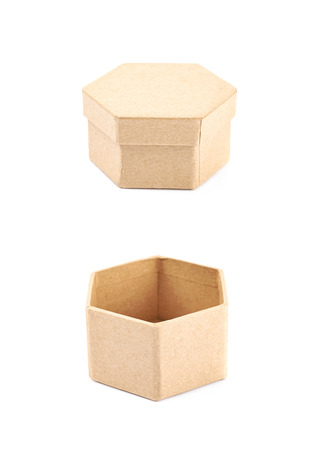 Paper hexagon shaped gift box isolated over the white background, set of two different foreshortenings Stock Photo